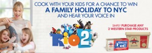 Western Star – Cook with your kids for a chance to Win a Family Holiday to NYC with $5000 spending money and hear your voice in Rio 2