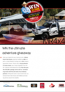 WIN $150K worth of prizes (Nissan Patrol Cab Chassis, Cub Campers, Pat Callinan, CUB Supermatic Caravan, Boat)