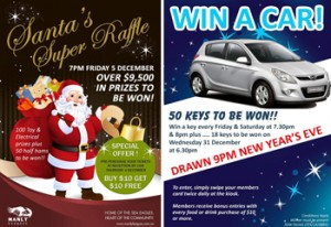 Manly Leagues – Book your Xmas Function to Win prizes inluding a Hyundai i20 & Christmas Raffles valued $9,500 in prizes