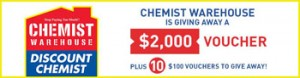 Prime 7 – Win a $2000 Chemist Warehouse Gift Card OR 1 of 10 $100 Chemist Warehouse Gift Cards