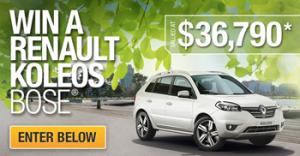 Renault Australia – Win a Renault Pearl White Koleos BOSE valued at $36,790