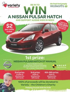 Woolworths – Buy raffle ticket to Win a Nissan Pulsar Hatch CAR plus Woolworths Gift Cards