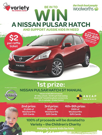 woolworths buy raffle ticket to win a nissan pulsar hatch australian competitions. Black Bedroom Furniture Sets. Home Design Ideas