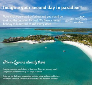 Air Mauritius – Vote to Win a Holiday for 2 to Le Touessrok Mauritius