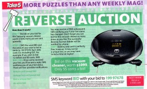 Take 5 – Issue 3 – Reverse Auction – WIn a vacuum cleaner worth $1099