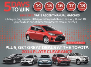 Toyota – Win 1 of 3 Yaris Ascent Manual Hatches Car (buy a new 2014 plated Toyota between Jan 14 and Jan 18)