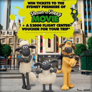 ABC Shop – Purchase to Win 4 tickets to the Sydney Premiere of Shaun the Sheep Movie PLUS a $2,000 Flight Centre Voucher