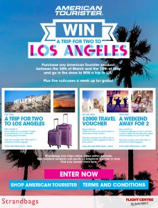 Strandbags – Win a trip for two to Los Angeles 2015 (purchase American Tourister product)