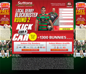 Suttons South Sydney – Win a chance to kick for a 2013 Mitsubishi Mirage to the value of $14,490