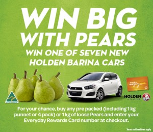 Woolworths – Win 1 of 7 Holden Barina Cars (purchase 1kg of Pears)