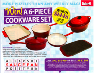 Take 5 Issue 20 – Win a 6-piece Cookware Set valued at $1,448