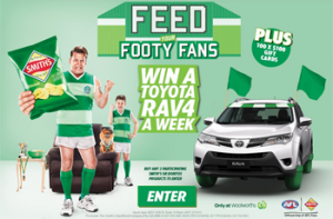The Smiths Snackfood Company-Woolworths – Win a 2015 five-door automatic wagon Toyota RAV4 valued at up to AU$33,846 OR 1 of 25 Weekly prizes of $100 Woolworths WISH Gift card