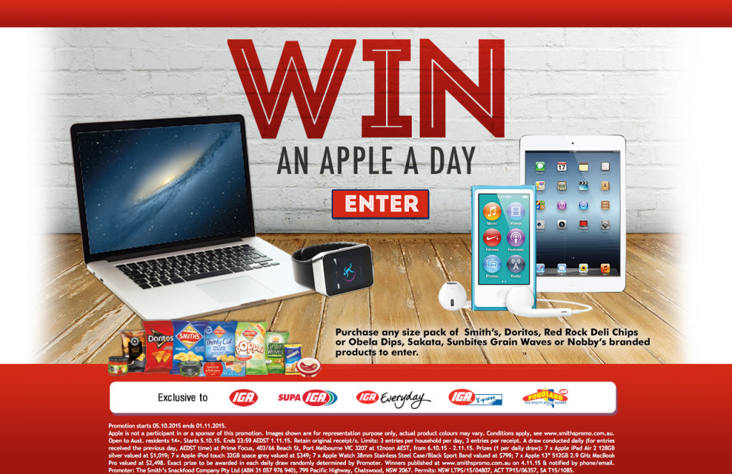 IGA, Supa IGA, IGA Everyday, IGA Express, Foodland – Win An Apple Product (Macbook, iPod, iPad, Watch) A Day with Smith's Competition
