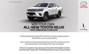 Yahoo7-Seven Sport – Win a Toyota 4×4 SR5 Double Cab all new Hilux valued at $55,990 AUD driveaway