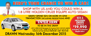 Amcal – Chempro Chemists – Win a Holden Cruze Equipe Auto Sedan valued at $19,990