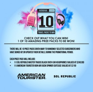 American Tourister Australia & New Zealand – Win 1 of 10 prize packs incl Over-ear Headphone & 55cm Spinner Suitcase valued at over $468 each