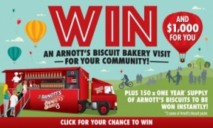 Arnott's – Win an Arnotts Biscuit Bakery Event valued at $30,000 & a $1,000 gift card OR 1 of 150 instant win prizes of a years supply of Arnotts biscuits valued at $350 each