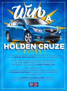 Scoopon – Win a brand new Cruze Holden valued at up to $25,920
