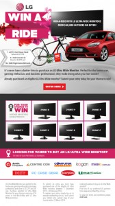 LG – Win a red 2015 Ford LZ Focus automatic hatch valued at up to AUD$27,990 OR 1 of 3 Trek Emonda S6 Bikes valued at $2,424 each, 1 of 10 $500 Flight Center gift vouchers
