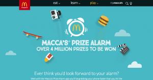 McDonalds Australia – Macca's Prize Alarm App – Win instant prizes or $1,000 iChoose prepaid gift card weekly