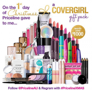 Priceline – 12 Days of Christmas Giveaways – 1st Day Win a Covergirl gift pack valued at $1,000 over
