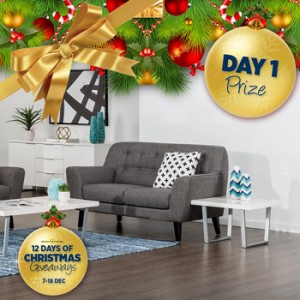 Super Amart – 12 Days of Christmas giveaways – Day 1 – Win a James 2 seater sofa valued at $599