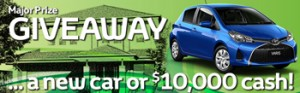 Ausmar Homes and Sunshine Toyota – Win either a Toyota Yaris Ascent Hatch 5 door manual valued at $19,610 OR $10,000 cash