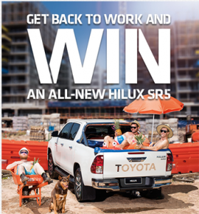 Coates Hire – Win a Glacier White Toyota Hilux Dual Cab 4×4 SR5 Automatic valued at up to $61,247 OR 1 of 11 Weekly Minor Prizes