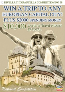Divella Ti tarantella – Win a trip for 2 to any European City plus $2,000 spending money OR 1 of 2 Runner up Flight Centre Gift Cards