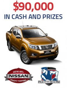 Ninemsn – Wide World of Sports Tipping – Win a Nissan NP 300 Navara valued at $55,000 OR 1 of 5 Grand Final Footy Show experiences OR weekly prizes of $500 cash