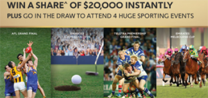 Treasury Wine Estates Australia – Wolf Blass – Win a major prize of a trip for 2 to attend 4 huge sporting events OR 1 of 31 Instant Win prizes of VISA gift cards