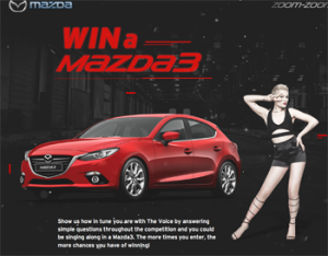 Ninemsn – Mazda 3 The Voice 2016 – win a Mazda 3 SP25 Astina automatic hatch in Soul Red valued up to $41,483