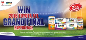 Pfizer PEE Australia – Centrum – Win 1 of 2 trips for 2 to the 2016 Toyota AFL Grand Final valued up to $3,850 each
