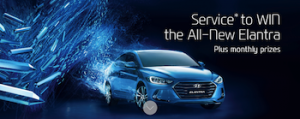 Hyundai – Book a service to win a Hyundai Elantra Elite 2.0L 6 Speed Automatic car plus many more