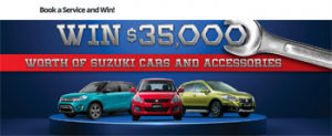 Mayfairs W Sale – Suzuki QLD & Northern Rivers NSW – Book a service to Win $35,000 worth of Suzuki cars and accessories