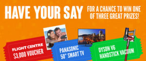 Appliances Online – Complete the survey to Win Flight Center voucher OR Smart TV OR Dyson vacuum cleaner