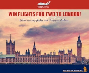 Webjet – Win flights for two to London, return economy flights with Singapore Airlines