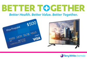 Terry White Chemists – Win a $500 PrePaid Visa Gift Card OR 1 of 2 LG 28 Ultra Slim LED TVs