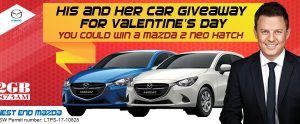 2GB – Win a Mazda 2 neo Hatch Car with West End Mazda His and Her Car Giveaway
