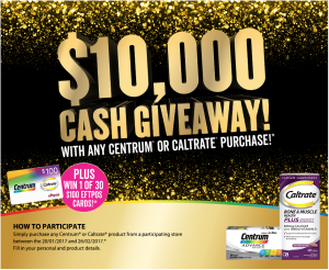 Centrum – Caltrate – Win $10,000 Cash plus 1 of 30 $100 EFTPOS Cards