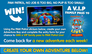 Nickelodeon Australia – Win 1 of 5 VIP Family Passes (4 tickets) to PAW Patrol Live valued up to $339 each