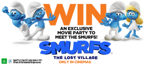 Woolworths Rewards – Smurfs: The Lost Village Kid's Recipe – Win a private cinema screening for 25 people OR 1 of 10 minor prize packs