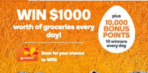 Woolworths Rewards – Win 1 of 20 major prizes valued at $1,000 groceries OR 1 of 200 minor prizes of 10,000 Woolworths Rewards points
