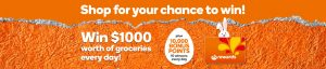 Woolworths Rewards – Easter Scan to Win – Win 1 of 20 Major prizes of $1,000 worth of groceries OR 1 of 200 minor prizes of 10K Rewards points