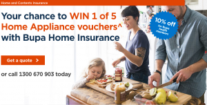 Bupa – Home Insurance – Win 1 of 5 KitchenAid gift vouchers valued at $1,000 each