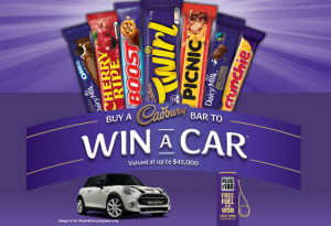 Mondelez Australia – Cadbury Buy a Bar to Win a Car – Win a major prize of a motor vehicle valued up to $45,000 OR 1 of 750 gift cards valued at $100 each