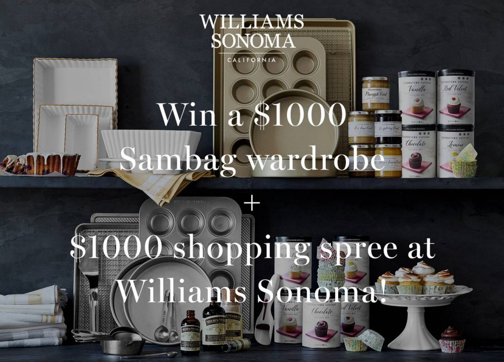 SAMBAG – Win a $1,000 Sambag wardrobe plus a $1,000 voucher at Williams Sonoma
