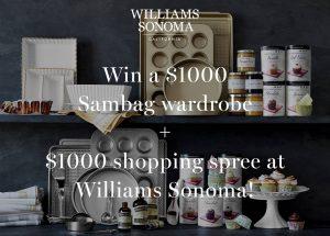 SAMBAG – Win a $1,000 Sambag wardrobe plus a $1,000 voucher at Williams Sonoma