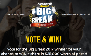 Super Cheap Auto – Big Break – Win a major prize of a $5,000 Supercheap Auto gift card OR 1 of 200 minor prizes