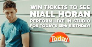 Channel 9 – Today Show – Niall Horan 35th Birthday – Win 1 of 150 tickets to be in the live audience for the Today Show to watch a live performance by Niall Horan